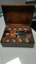 Vintage.wood Music Box & Glasses  And.flask
