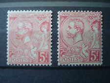 MONACO 1891 Nr 21 +21a  5 Fr x 2 MH* COT. 340 EUR