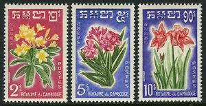 Cambodge 91-93, Mi 118-120, MNH Fleurs : Frangipane,Oleander,Amarylis,1961
