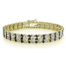 1.00ct TDW Black & White Diamond S Pattern Tennis Bracelet