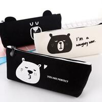 Cute Naughty Bear Canvas Pencil Cases Stationery Pencilcase Kawaii Bag