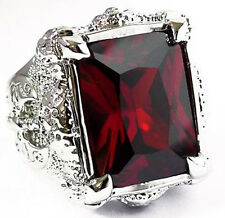 BIG RED RUBY DRAGON CLAW AXE SILVER PLATED RING Sz 12.5