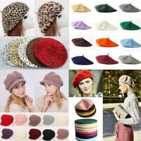 Women Beanie Beret Winter Warmer French Artist Hats Ski Caps Solid Gifts Girls