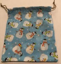 Vintage Retro Keepsake Christmas Jolly Snowmen Cotton Fabric Gift Bag