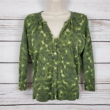 Talbots | Green Paisley Silk Blend Cardigan Size P Petite 3/4 Sleeve Buttoned
