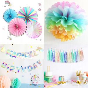 Unicorn Girls Party Iridescent Pastels Pom Pom Tassels Garland Birthday Decor