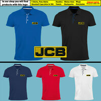 JCB Slim Polo T Shirt EMBROIDERED Tractor Excavator Logo Mens Farm Clothing Gift