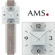 AMS 7322 Wall Clock with Pendulum Quartz Living Room Watch