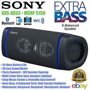 Sony SRS-XB33 Wireless Portable Bluetooth Speaker Waterproof EXTRA BASS - Black