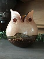 Vintage Hand Blown Murano Italy Brown, Orange & Copper Glass Owl Vase
