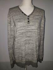 INC International Concepts Womens Size L Gray Shirt Long Sleeve Striped Knit Top