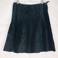 Context Leather Skirt Women's 10 Black Western Suede Below Knee Rock Festival EC