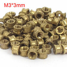 100pcs 4.2mm M3x3mm Threaded Round Metal Knurl Thread Insert Nuts Brass Tone