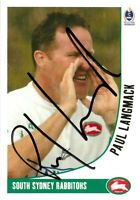 ✺Signed✺ 2003 SOUTH SYDNEY RABBITOHS NRL Card PAUL LANGMACK Daily Telegraph