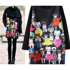 BOHO Minikleid Sweatshirt Long Pullover schwarz Katzen 44 46 48 *NEU*