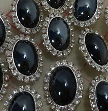 "12 Czech silver metal shank rhinestone buttons hematite glass oval cab 1""  #404"