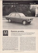 Nissan Datsun 1200 Sunny 4-dr Road Test 1971 UK Market Foldout Brochure Motor