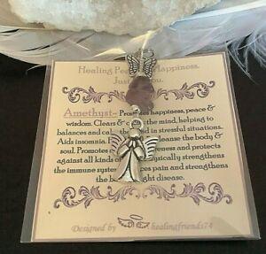 GEMSTONE CRYSTAL ANGEL CHARM PENDANT GIFT KEYRING HEALING ROSE QUARTZ CHAKRA