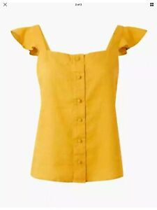 M&S Pure Linen Yellow Camisole Top Button Down Frill Sleeve UK14 BNWT £25