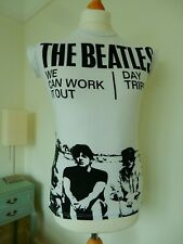 White Black Unisex 1960's Replica Beatles Capped Sleeved Tee Shirt