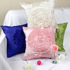 "Elegant 3D Big Raised Rose Taffeta Wedding Throw Pillow Case Cushion Cover 16.5"""