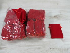 25 Stück Samtbeutel 10,0cm x 7,5cm  Schmuckbeutel Schmuck Geschenkbeutel Rot
