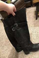 ce0ab41e615 BCBG Generation Black Leather Buckle Zip Over the Knee Boots Size 8