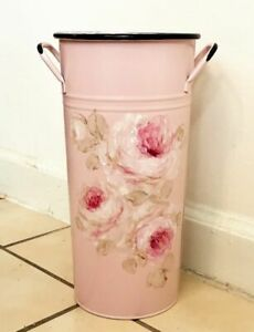 French Floral Bucket metal enamel shabby hand painted chic roses pink pail