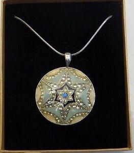 "Star of David  Tourquoise& Blue   Enamel & Rhinestone Medallion with 16"" Chain"