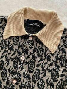 COMME des GARCONS tricot Cardigan Wool Black Beige Ladies Floral Knit 90's