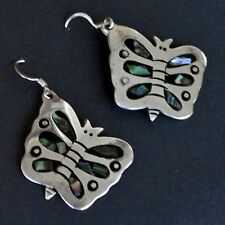 *Vintage 80 Sterling Silver Mexican Butterfly Abalone Highlights Earrings