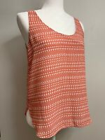 Ann Taylor Loft Tank Top Orange White Scoop Neck Sleeveless Blouse XS Extra Smal