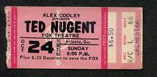 Original 1976 Ted Nugent Concert Ticket Stub Fox Theatre Atlanta Ga Free For All