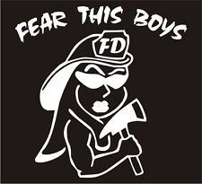 """Firefighter Decal - Fear This Boys Female 4"""" Exterior Window Decal in White"""