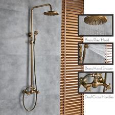 8-inch Antique Brass Bath Shower System Faucet Set Rain Head Sprayer Mixing Tap