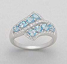 Solid Sterling Silver Natural Genuine Swiss Blue Topaz Bypass Ring  sz7