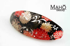 JAPANESE HAIR clip KANZASHI style KIMONO in ACRYLIC hair clip claw geisha BLACK