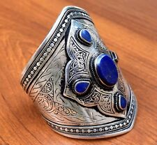 Lapis Afghan Cuff Kuchi Bracelet Silver Tribe Jewelry Gypsy Ethnic Bohemian Boho