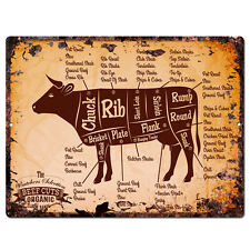 PP0009 Rust Vintage Beef Meat Chart sign Home Restaurant Cafe Wall Decor Gift