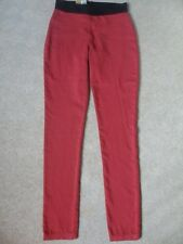 """EX M&S BERRY RED COTTON RICH SUPER STRETCH PULL ON JEGGINGS JEANS SIZE 8 M 29.5"""""""