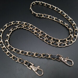 120cm Leather Black Gold Replacement For Chanel Purse Chain Strap Tote Designer