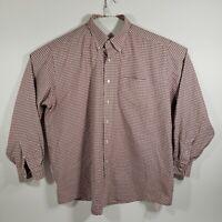 LL Bean Mens Size 18-35 Button Down Shirt Long Sleeve Checkered Cotton Blend