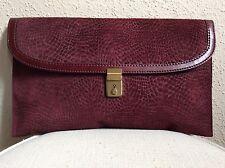 VINTAGE Burgundy Textured Reptile Print Nubuck Suede Leather Brass HW Clutch Bag