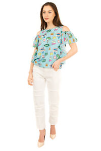 RRP €200 BLUGIRL FOLIES Top Size 44 / M Motel Sign Print Made in Italy