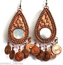 COPPER TONE COINS & MIRROR MEDALLION EARRINGS TRIBAL BELLY DANCE GYPSY BOHO INDI