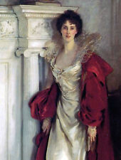 Dutchess of Portland Painting White and Red Dress Wall Art Real Canvas Print New