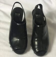 Impo Women's Black Leather Shoes Chunky Heels Peep Toes Size 6