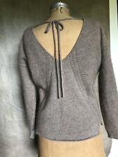 Rebecca Minkoff Women Taupe LUSH CASHMERE Back Tie Neck Sweater XXS Couture LUXE