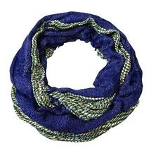 New NWT Collection Eighteen Scarf Open Weave Metallic Royal Blue Cream Infinity