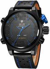 Weide Big Face Mens LeatherJapan Miyota Quartz LED Sports Blue EDC Wrist Watch